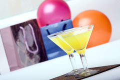 Two glasses & evening-party Stock Photography