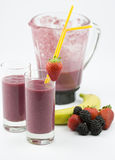 Two glasses filled with a delicious smoothie Royalty Free Stock Photo