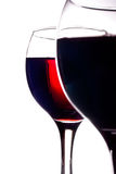 Two glasses filled with red wine isolated on white Royalty Free Stock Images