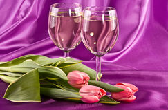 Two glasses and flowers Stock Photo