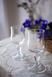 Two Glasses. Two formal glasses on Lace stock photos