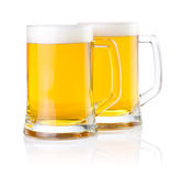 Two glasses of fresh beer with foam  Stock Image