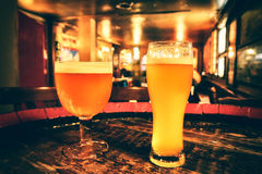 Two glasses of fresh beer Stock Image