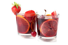 Two glasses of fresh fruit sangria Royalty Free Stock Photos