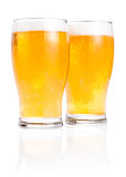 Two glasses fresh lager beer with foam Royalty Free Stock Photo