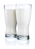 Two Glasses of fresh milk isolated on white Stock Photography