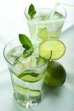 Two glasses of fresh mojito Stock Photography