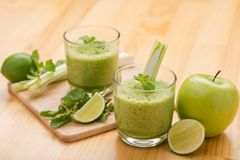 Two glasses of fresh smoothie Stock Photo
