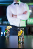 Two glasses of gin on bar counter Royalty Free Stock Images