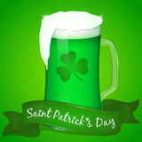 Two glasses of green beer for Saint Patrick`s Day with ribbon. Background for St. Patrick`s day in cartoon style. Vector illustrat. Glass of green beer for Saint Stock Photo