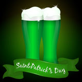 Two glasses of green beer for Saint Patrick`s Day with ribbon.. Background for St. Patrick`s day in simple cartoon style. Vector illustration. Holiday Royalty Free Stock Images