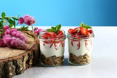Two glasses of healthy fresh strawberry yogurt with fresh berries, oatmeal cookies, pink flowers and mint on wooden table, on a bl stock image