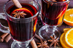 Two glasses of hot mulled wine Royalty Free Stock Photography