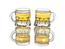 Two glasses of hot shot brandy isolated Royalty Free Stock Images