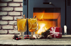 Two glasses of hot tea with christmas decoration Royalty Free Stock Photography