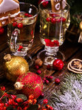 Two glasses of hot tea with wine, close-up. Stock Images