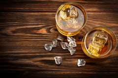 Two glasses with ice and whiskey (top view) Stock Photography
