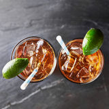 Two glasses of iced tea top down Royalty Free Stock Photos