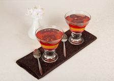 Two glasses with the jelly Royalty Free Stock Photos