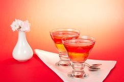 Two glasses with jelly on white napkin Stock Photo