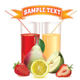 Two glasses with juice, lemon, pear, strawberry and slices Royalty Free Stock Image