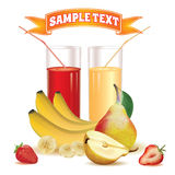 Two glasses with juice and straw, bananas, strawberry and pear Royalty Free Stock Photography