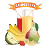 Two glasses with juice and straw, bananas, strawberry and pear Stock Images