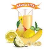Two glasses with juice and straw, lemon, banana and pear Royalty Free Stock Photo