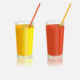 Two glasses with juice. Tomato and orange drink with straws. Stock Photos