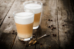 Two glasses of latte Stock Photography