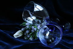 Two glasses with lavender flowers. On the dark blue velvet Royalty Free Stock Image