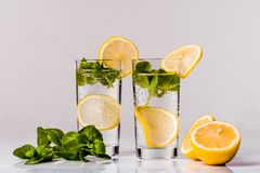 Water with lemon and mint  Royalty Free Stock Images