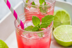 Two glasses of lemonade Stock Images