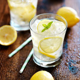 Two glasses of lemonade shot close up Stock Image