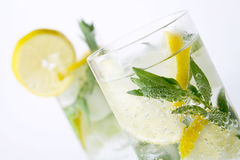 Two glasses of mojito cocktail Royalty Free Stock Images