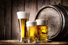 Two glasses and mug of light beer Royalty Free Stock Image
