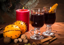 Two glasses with mulled wine Royalty Free Stock Photo