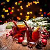 Two glasses of  mulled wine Stock Image