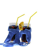 Two glasses of mulled wine dark blue scarfs Royalty Free Stock Photo