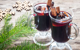 Two glasses of mulled wine with fir branch Stock Image