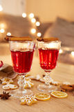 Two glasses of mulled wine with orange and spices Stock Photo