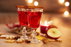 Two glasses of mulled wine with orange and spices Stock Image