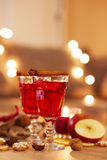 Two glasses of mulled wine with orange and spices Royalty Free Stock Photography