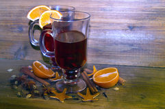 Two glasses of mulled wine Stock Photos