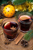 Two glasses of mulled wine with spices Royalty Free Stock Image