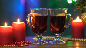 Hot mulled wine for christmas stock video