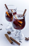 Two glasses of mulled wine on white background Royalty Free Stock Photo
