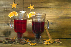 Two glasses of mulled wine Stock Images