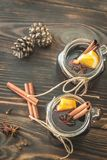 Two glasses of mulled wine on the wooden background Stock Images