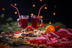 Two glasses of mulled wine on a wooden table Royalty Free Stock Photography